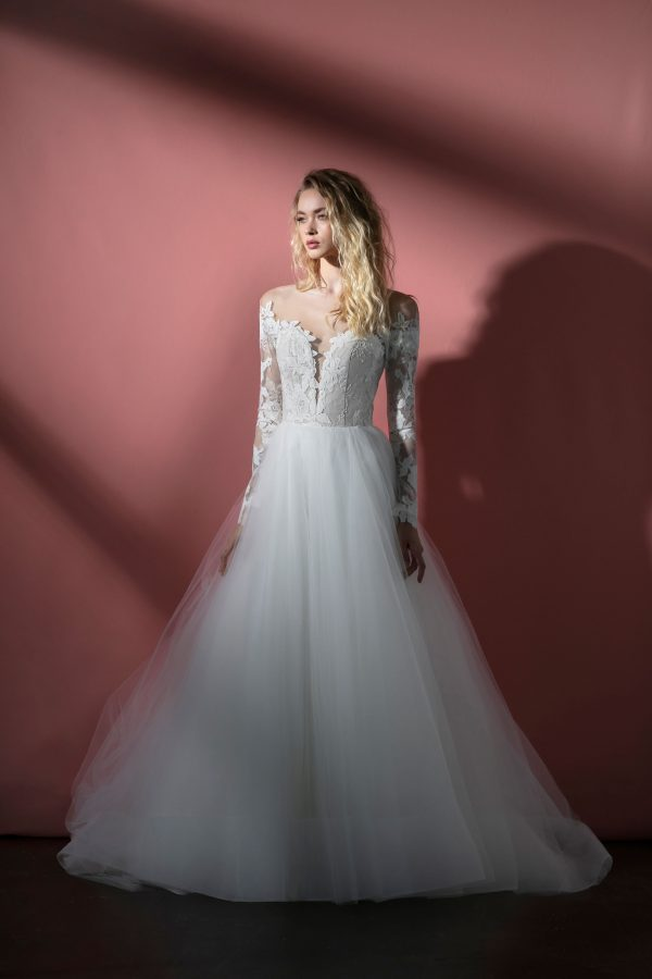 Long Sleeve Illusion A-line Wedding Dress With Lace Bodice And Tulle Skirt by BLUSH by Hayley Paige - Image 1