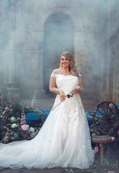 Cap Sleeve Off The Shoulder A-line Wedding Dress With Sequined Lace by Disney Fairy Tale Weddings Collection