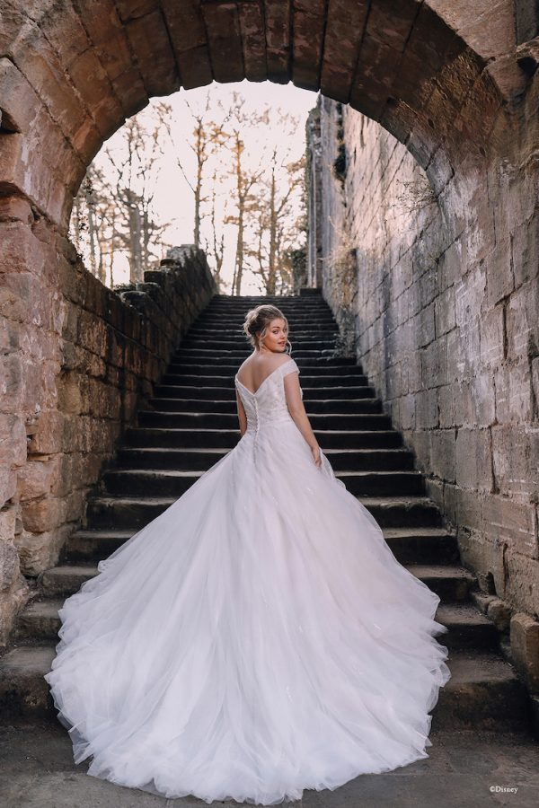 Cap Sleeve Off The Shoulder Ball Gown Wedding Dress With Beaded Bodice And Tulle Sparkle Skirt by Disney Fairy Tale Weddings Collection - Image 2