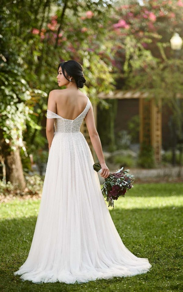 ASYMMETRICAL WEDDING GOWN WITH BEADED TULLE by Essense of Australia - Image 2