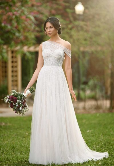 ASYMMETRICAL WEDDING GOWN WITH BEADED TULLE by Essense of Australia