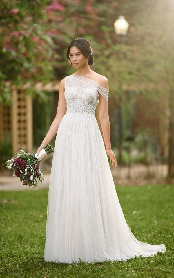 ASYMMETRICAL WEDDING GOWN WITH BEADED TULLE by Essense of Australia - Image 1