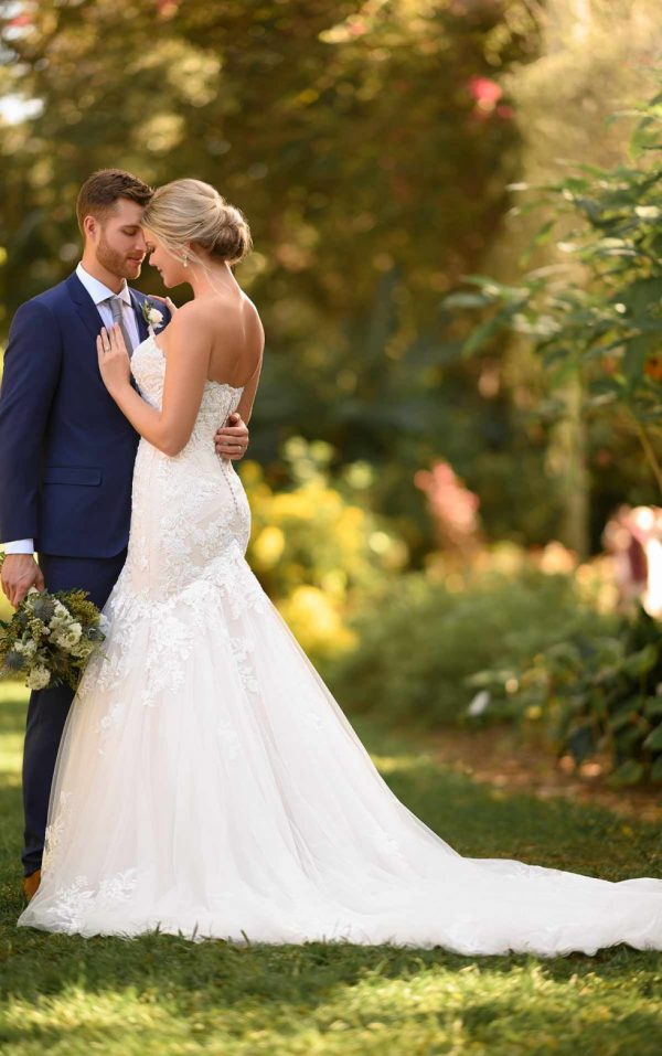 Floral Fit And Flare Wedding Gown With Strapless Bodice by Essense of Australia - Image 2