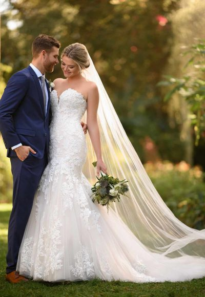 Floral Fit And Flare Wedding Gown With Strapless Bodice by Essense of Australia