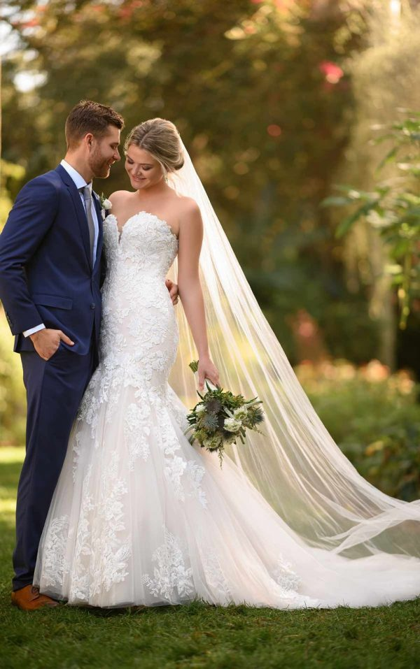 Floral Fit And Flare Wedding Gown With Strapless Bodice by Essense of Australia - Image 1
