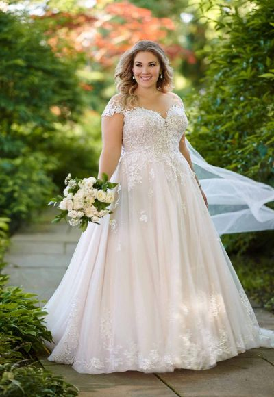 ROMANTIC PLUS SIZE BALLGOWN WITH OFF-THE-SHOULDER CAP SLEEVES by Essense of Australia