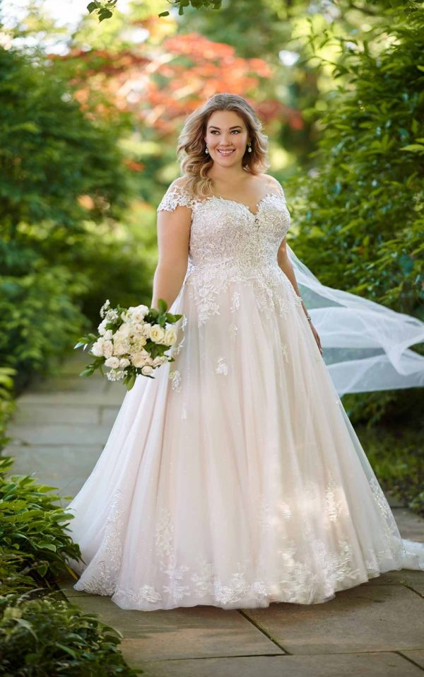 ROMANTIC PLUS SIZE BALLGOWN WITH OFF-THE-SHOULDER CAP SLEEVES by Essense of Australia - Image 1