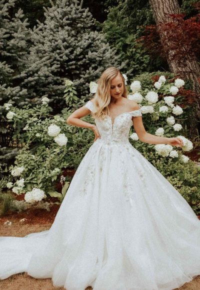 Sparkling Off The Shoulder Ball Gown With Extra Volume by Essense of Australia
