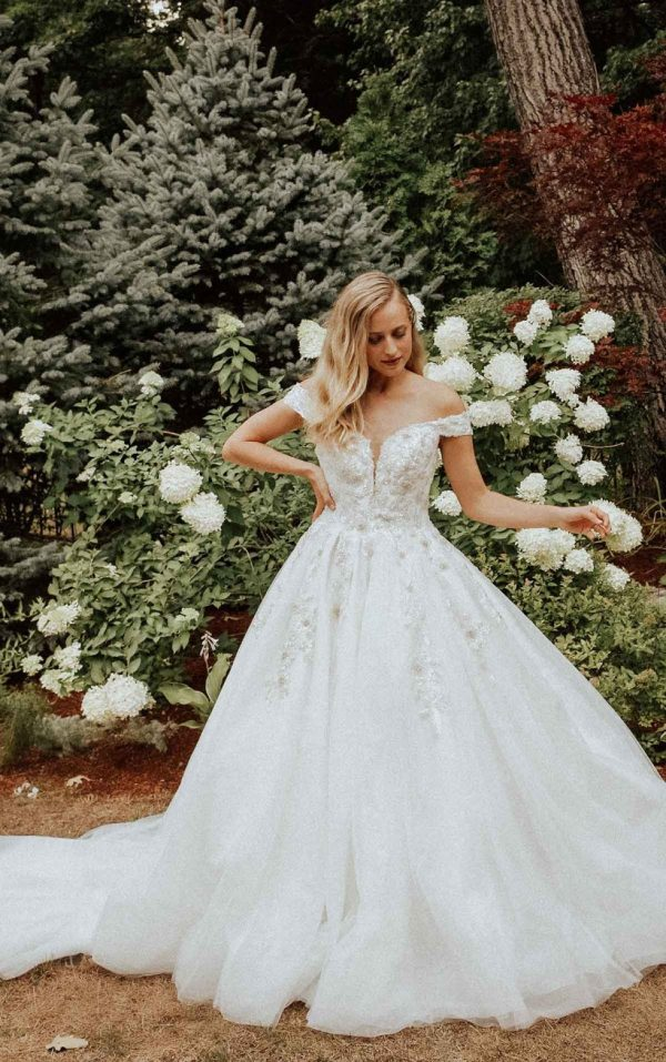 Sparkling Off The Shoulder Ball Gown With Extra Volume by Essense of Australia - Image 1