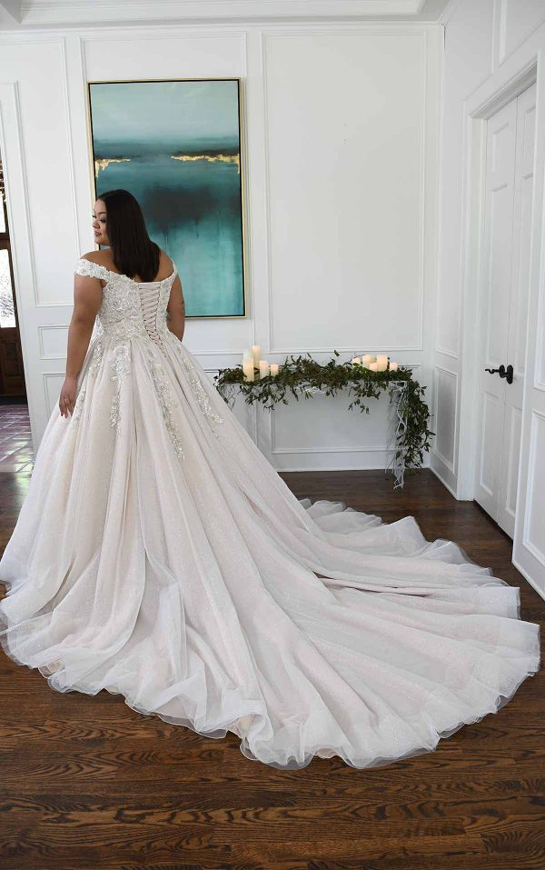 Sparkling Off The Shoulder Plus Size Ball Gown With Extra Volume by Essense of Australia - Image 2