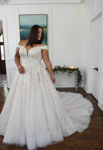 Sparkling Off The Shoulder Plus Size Ball Gown With Extra Volume by Essense of Australia