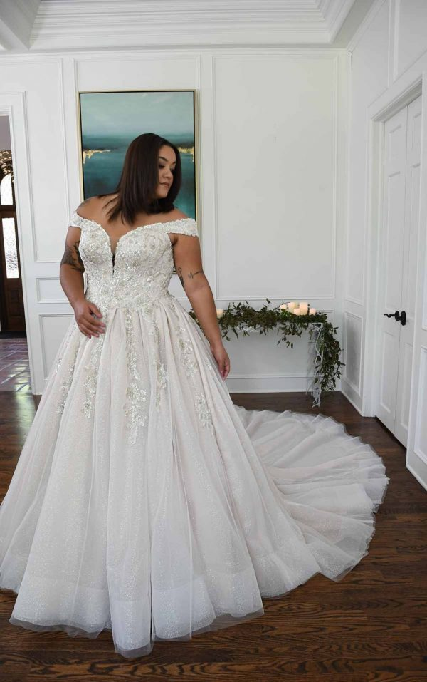 Sparkling Off The Shoulder Plus Size Ball Gown With Extra Volume by Essense of Australia - Image 1