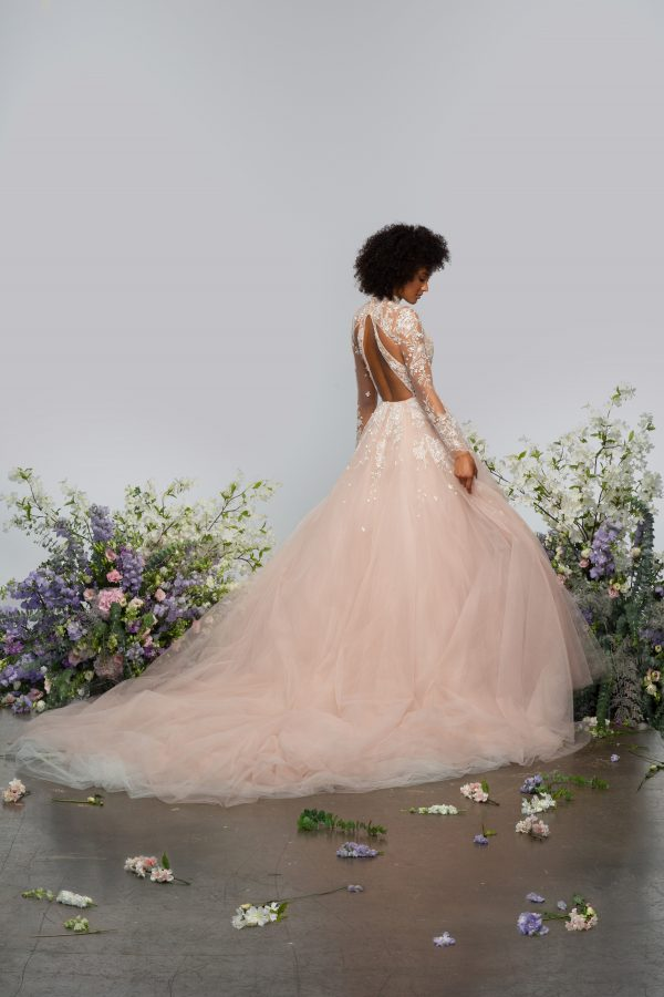Long Sleeve High Neckline Illusion Ball Gown Wedding Dress With Tulle Skirt by Hayley Paige - Image 2