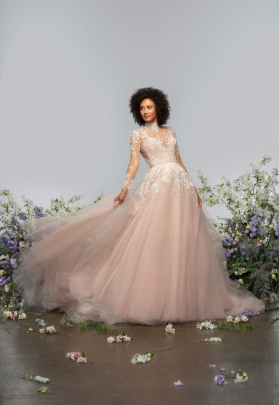 Long Sleeve High Neckline Illusion Ball Gown Wedding Dress With Tulle Skirt by Hayley Paige