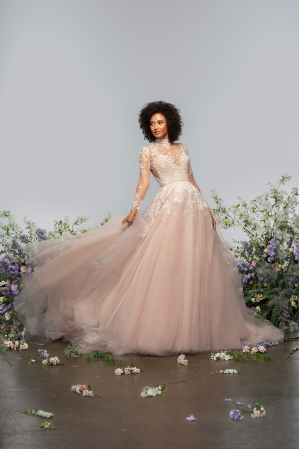 Long Sleeve High Neckline Illusion Ball Gown Wedding Dress With Tulle Skirt by Hayley Paige - Image 1
