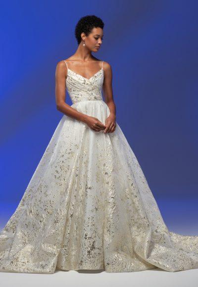 Spaghetti Strap Sweetheart Neckline Organza Ball Gown Wedding Dress by Lazaro