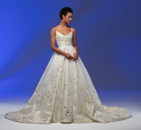 Spaghetti Strap Sweetheart Neckline Organza Ball Gown Wedding Dress by Lazaro - Image 1