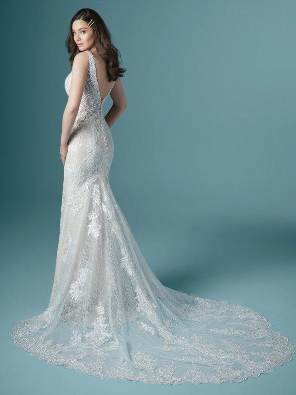 Sleeveless V-neckline Beaded Lace Sheath Wedding Dress by Maggie Sottero - Image 2