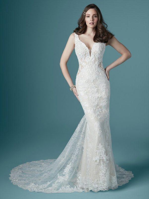 Sleeveless V-neckline Beaded Lace Sheath Wedding Dress by Maggie Sottero - Image 1
