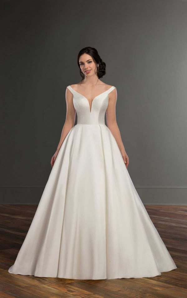 Modern Off The Shoulder Wedding Gown by Martina Liana - Image 1