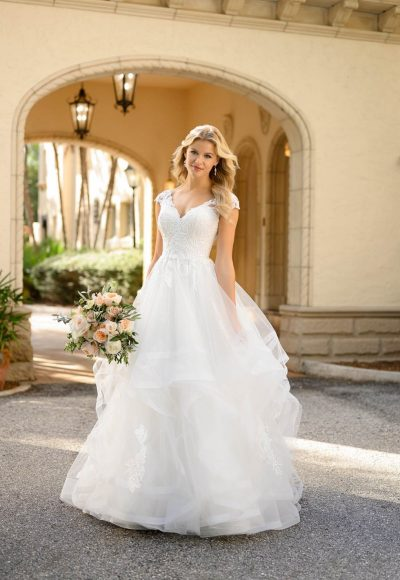 Classic Princess Ballgown With Cap Sleeves by Stella York