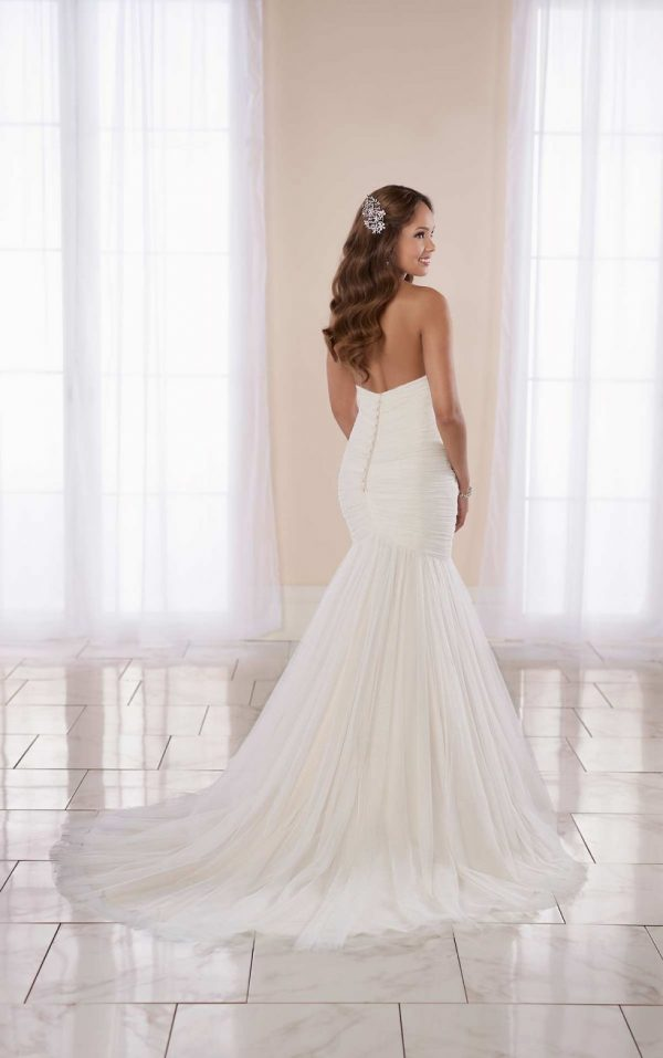 Modern Fit And Flare Wedding Dress With Ruching by Stella York - Image 2