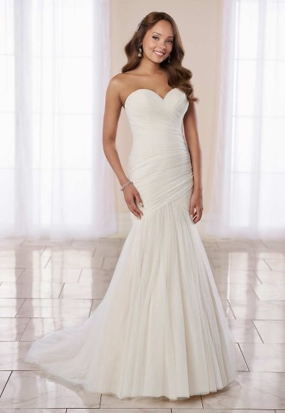 Modern Fit And Flare Wedding Dress With Ruching by Stella York
