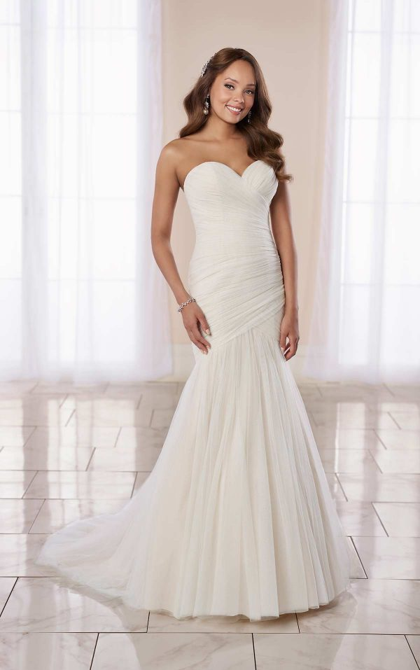 Modern Fit And Flare Wedding Dress With Ruching by Stella York - Image 1