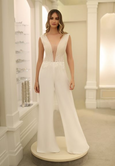 Cap Sleeve V-Neckline Jumpsuit by Michelle Roth