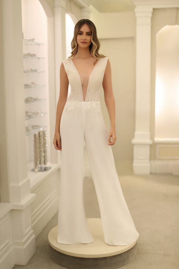 Cap Sleeve V-Neckline Jumpsuit by Michelle Roth - Image 1