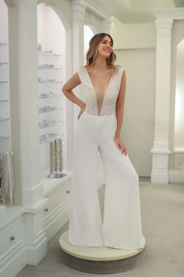 Cap Sleeve V-Neckline Jumpsuit by Michelle Roth - Image 2