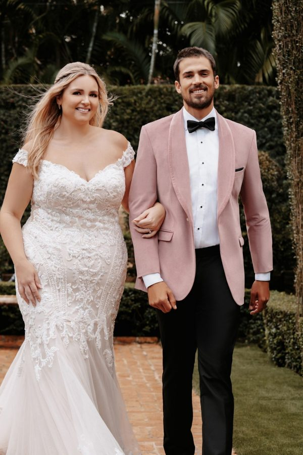 Off The Shoulder Sheath Plus Size Wedding Dress With Beaded Bodice And Train by Allure Bridals - Image 2