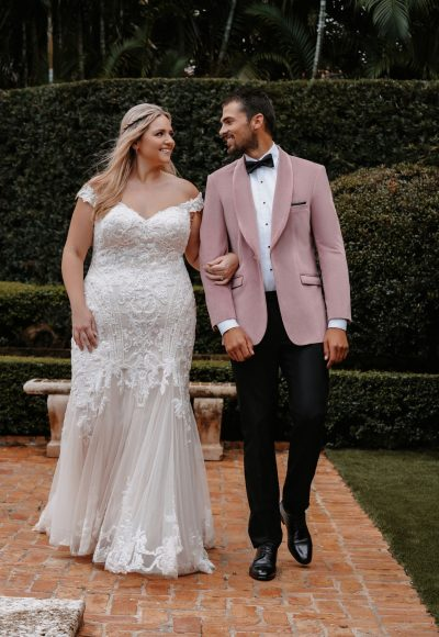 Off The Shoulder Sheath Plus Size Wedding Dress With Beaded Bodice And Train by Allure Bridals