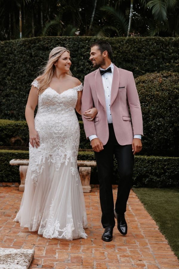 Off The Shoulder Sheath Plus Size Wedding Dress With Beaded Bodice And Train by Allure Bridals - Image 1