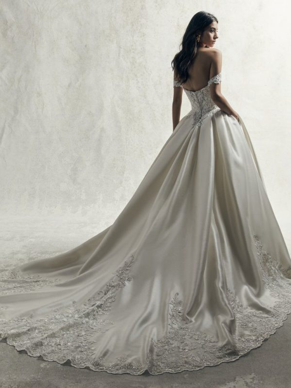 OFF THE SHOULDER PLUS SIZE BEADED LACE BODICE AND MIKADO SKIRT BALL GOWN WEDDING DRESS by Maggie Sottero - Image 2