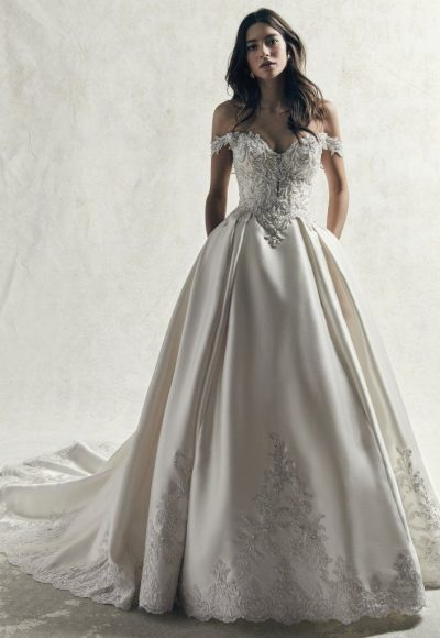 OFF THE SHOULDER PLUS SIZE BEADED LACE BODICE AND MIKADO SKIRT BALL GOWN WEDDING DRESS by Maggie Sottero