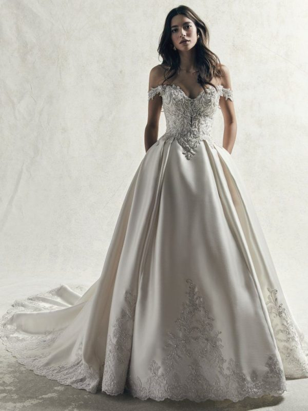 OFF THE SHOULDER PLUS SIZE BEADED LACE BODICE AND MIKADO SKIRT BALL GOWN WEDDING DRESS by Maggie Sottero - Image 1