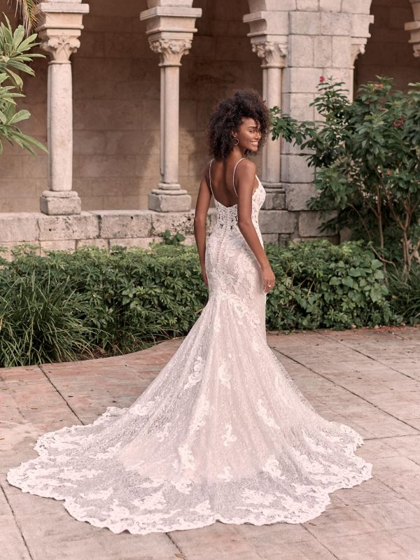 Sparkly Lace Sheath Bridal Dress With Illusion Lace Double Train by Maggie Sottero - Image 2