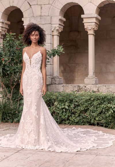 Sparkly Lace Sheath Bridal Dress With Illusion Lace Double Train by Maggie Sottero