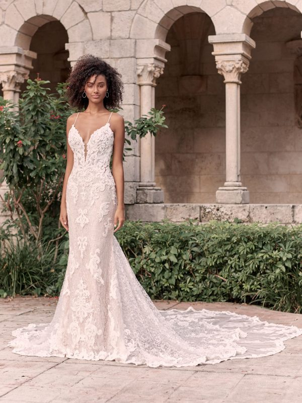 Sparkly Lace Sheath Bridal Dress With Illusion Lace Double Train by Maggie Sottero - Image 1