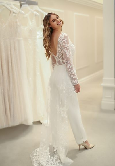 Long Sleeve Jumpsuit With Beaded Lace Overlay And Crepe Pants by Michelle Roth