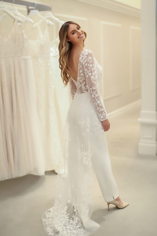Long Sleeve Jumpsuit With Beaded Lace Overlay And Crepe Pants by Michelle Roth - Image 1