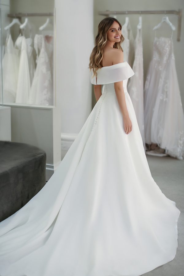 Off The Shoulder A-line Wedding Dress With Front Slit by Michelle Roth - Image 2