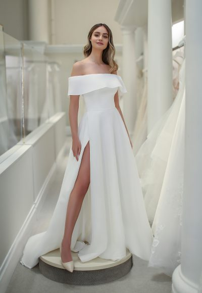 Off The Shoulder A-line Wedding Dress With Front Slit by Michelle Roth