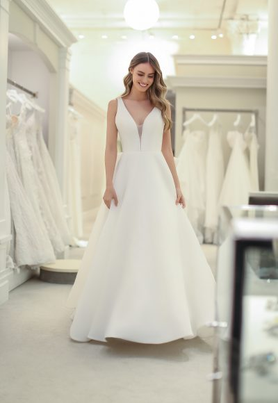 Sleeveless V-neck A-line Wedding Dress by Michelle Roth