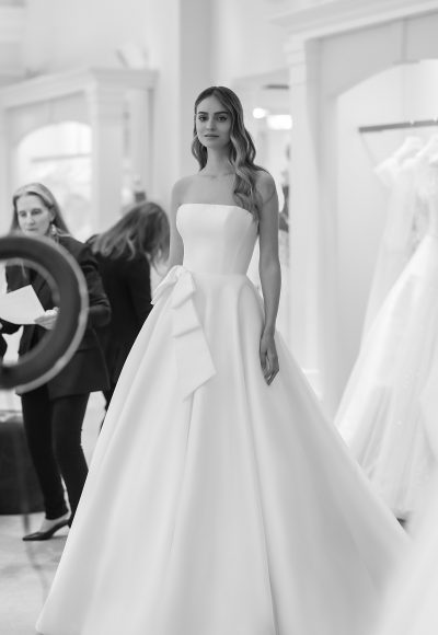 Strapless A-line Wedding Dress With Bow by Michelle Roth
