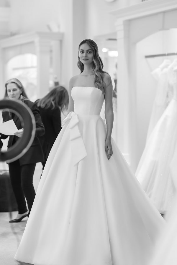 Strapless A-line Wedding Dress With Bow by Michelle Roth - Image 1