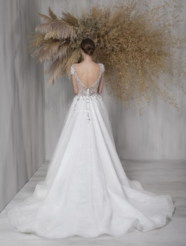 Cap Sleeve Ball Gown Wedding Dress With Illusion And Beaded Bodice by Tony Ward - Image 2