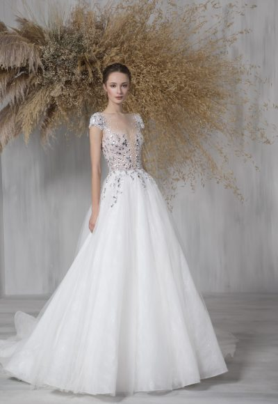 Cap Sleeve Ball Gown Wedding Dress With Illusion And Beaded Bodice by Tony Ward