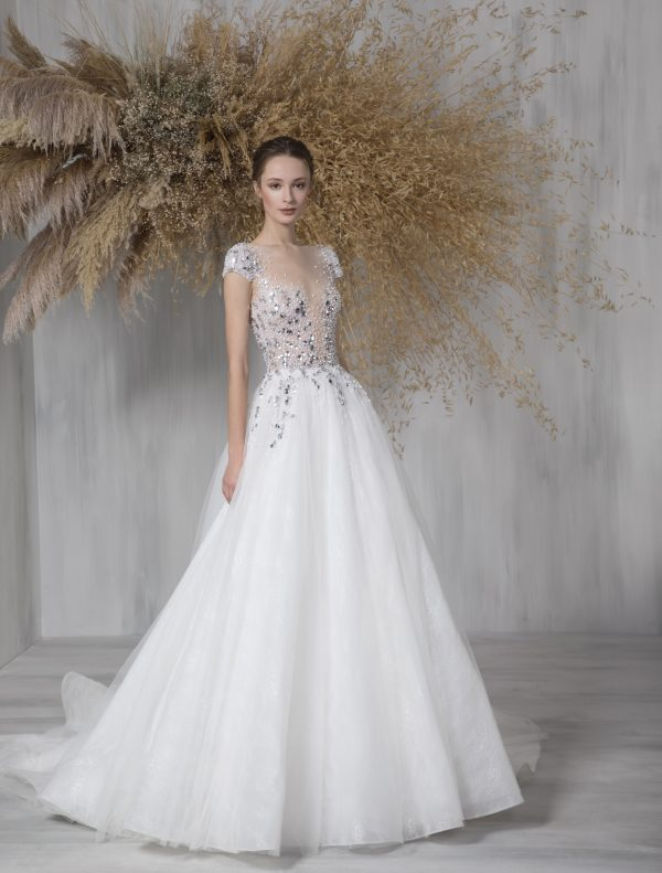 Cap Sleeve Ball Gown Wedding Dress With Illusion And Beaded Bodice by Tony Ward - Image 1
